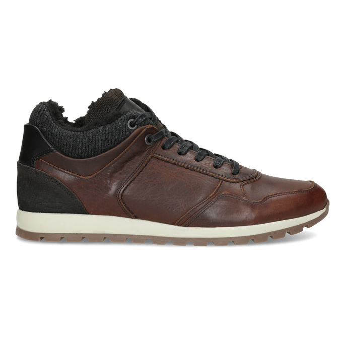 Leather Winter Sneakers bata, brown , 846-4646 - 19
