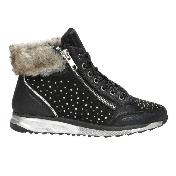 Children's winter boots with rhinestones mini-b, black , 329-6287 - 26