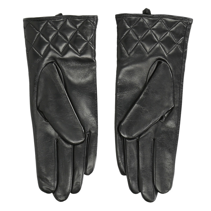 Ladies' black leather gloves, black , 904-6131 - 16