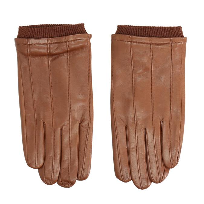 Brown leather gloves bata, brown , 904-3117 - 26