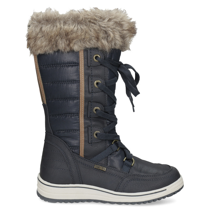 Ladies' snow boots with fur bata, blue , 599-9620 - 19