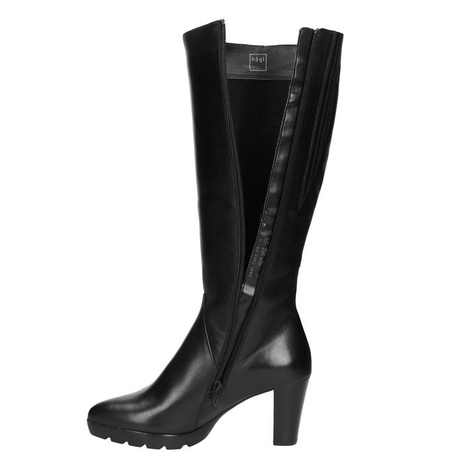 Ladies' leather heeled high boots hogl, black , 794-6009 - 15