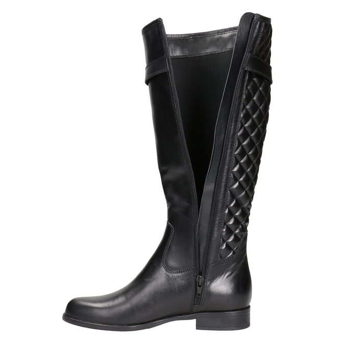Leather high boots with stitching bata, black , 594-6663 - 15