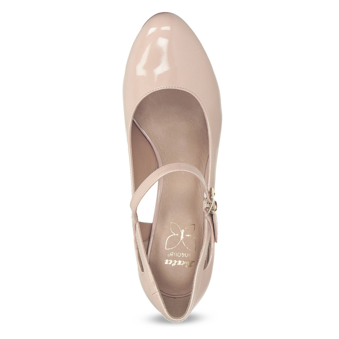 Pinkish cream-colored pumps with cut-outs insolia, pink , 721-8614 - 17