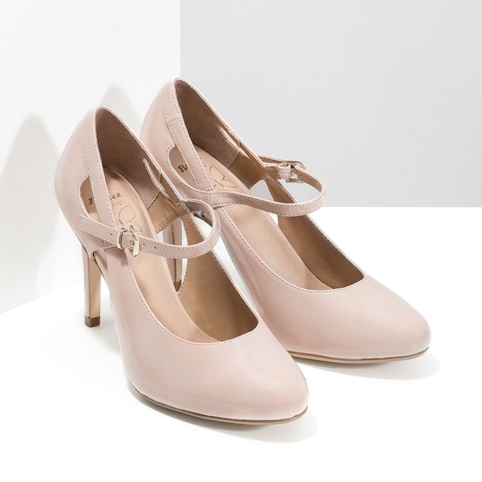 Pinkish cream-colored pumps with cut-outs insolia, pink , 721-8614 - 26