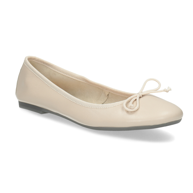 Leather ballerina shoes bata, beige , 524-8144 - 13