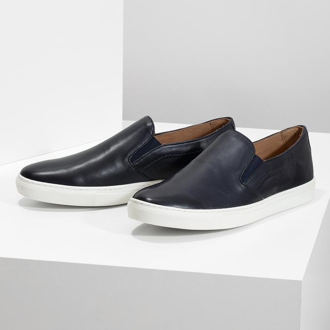 Men's Leather Slip-Ons bata, blue , 836-9601 - 16