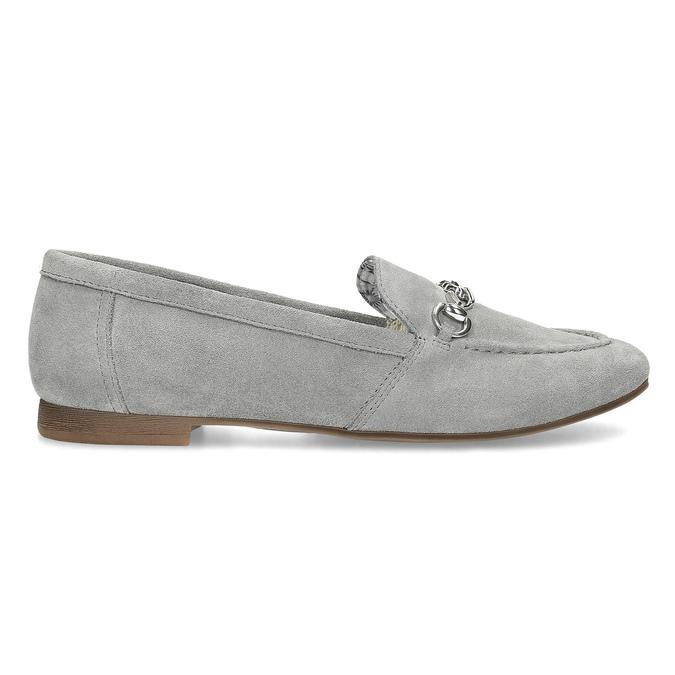 Grey leather moccasins bata, gray , 513-2615 - 19