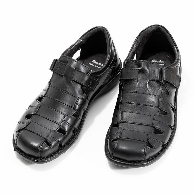 Men's black leather sandals bata, black , 864-6600 - 16